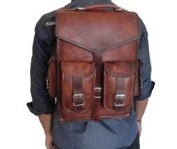 Leather Goat Men S Bag Backpack Rucksack Vintage Laptop Messenger Brown New - $51.48