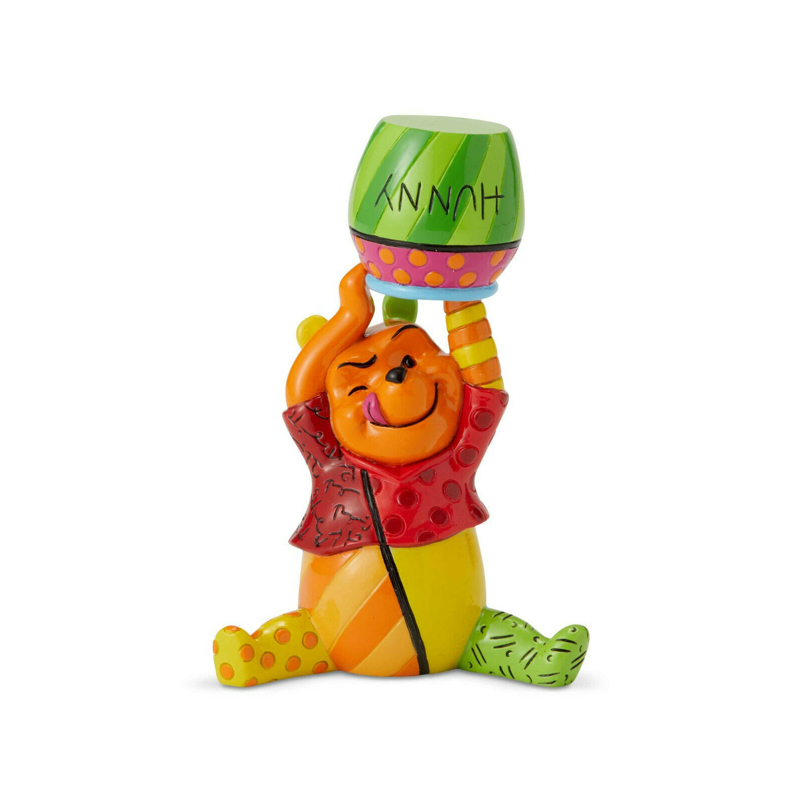 "3.66"" Disney Britto Pooh Mini 3 Dimensional Figurine Hand-painted Stone Resin"