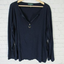 Ralph Lauren 3X Top Womens Navy Plus Size Shirt - $37.17