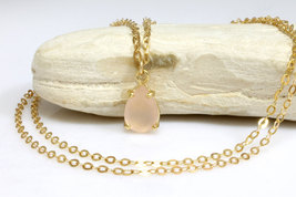 Pink chalcedony necklace,pink necklace,gold necklace,simple necklaces - $79.00+