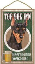 """Top Dog Inn Beerhounds Miniature Pinscher Bar Sign Plaque dog pet 10""""x16... - $21.95"""