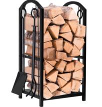 Firewood Log Rack Fireplace Tools Wood Indoor 2 Tier Storage Holder Set ... - $89.99