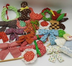 Calico Fabric Ornaments Lot 21 Handmade Christmas Tree Candy Cane Bows G... - $27.49