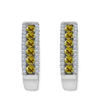 0.60 Ct Round Cut Citrine 925 Silver Fashion Hoop Earrings 14k White Gol... - $52.61