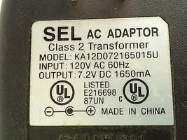 SEL KA12D072165015U AC Power Adapter Charger 7.2VDC 1650mA - $16.65