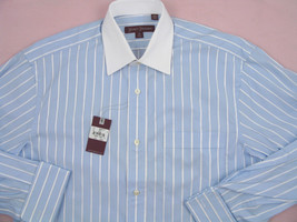 NEW $195 Hickey Freeman Dress Shirt 16.5 L 36.5 Blue with White Stripes & Collar - $79.99