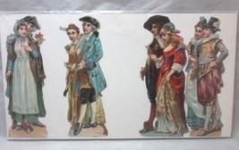 Victorian embossed die cut. 4 Colonial couples - $14.99