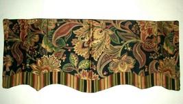 Ellis Waverly VALANCE Curtain Felicite Mateo Stripe Floral Black Red Gre... - $21.00