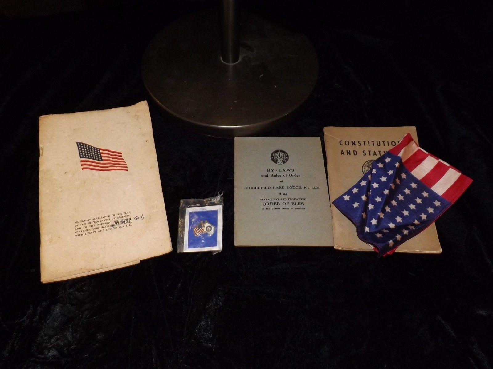 Vintage Order of Elks vest with pins, 1951/52 booklets flag and letter of accept