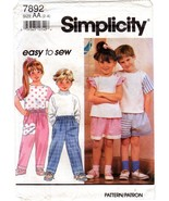 Simplicity 7892 Child's Boys Girls Pants or Shorts & Top Pattern Size 2-... - $8.47