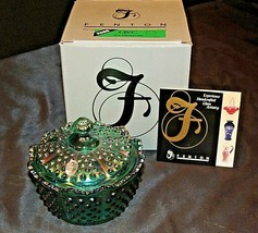 Green Hobnail Carnival Candy Butter Dish with Lid Fenton C3802SI AA20-7615  - $225.95