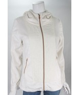 Betsey Johnson Cream Faux Fur Quilted Hooded Heart Zippers Soft Jacket S... - $64.35