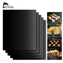 FHEAL®  2pcs/set Reusable BBQ Grill Mat Pad Sheet Hot Plate Portable Eas... - $9.08
