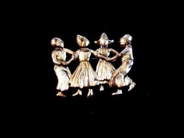 Vintage Lang Sterling Silver Dutch Boys & Girls Dancing Brooch - $44.54