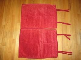 POTTERY BARN Pr/2 Pillow Shams VELVET DIAMOND QUILTED Linen Back RED Vin... - $79.15
