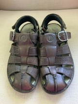 Merrell Eugene Brown Leather Closed Toe Fisherman Sandals Mens US 9 - $32.71