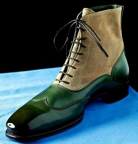 Men two tone green beige contrast handmade high ankle suede leather laceup boots