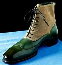 Handmade Men Green Leather Beige Suede High Ankle Lace Up Boots image 1