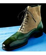 Handmade Men Green Leather Beige Suede High Ankle Lace Up Boots - $149.99+