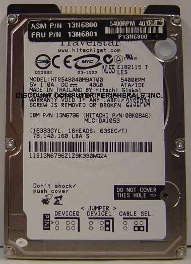 """NEW 40GB IDE 44PIN 2.5"""" 9.5MM drive Hitachi HTS548040M9AT00 Free USA Ship"""