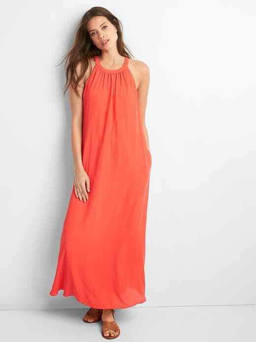 Primary image for Gap Drapey Halter Maxi Dress, 100% Polyester, Coral, Solid, Lined, Size M, NWT