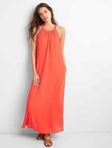 Gap Drapey Halter Maxi Dress, 100% Polyester, Coral, Solid, Lined, Size ... - $74.99