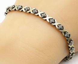 925 Silver - Vintage Genuine Diamonds XO Hugs & Kisses Chain Bracelet - ... - $54.27