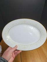Noritake Dearest China 14 Inch Serving Platter White & Brown Floral Trim 1970's - $13.81