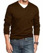 Club Room Men's Coffee Bean Brown Merino Wool Blends V-Neck Pullover Swe... - $39.99