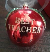 Kurt S Adler Ornament Best Teacher Apple Gold Glitter School Vintage - $25.00