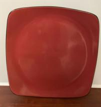 "4 Corning Corelle HEARTHSTONE 11 1/2"" Dinner Plates Chili Red/Square - Stoneware - $43.56"