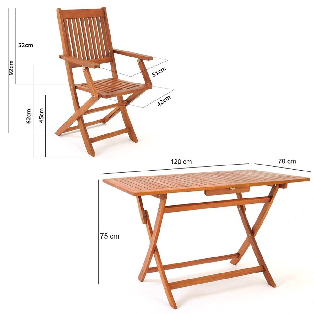 Garden Hardwood Dining Table Chairs Set Folding Outdoor Easy Storage Furniture image 5