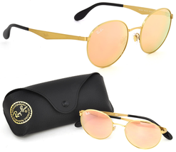 Ray Ban Round Metal Sunglasses RB 3537 c. 001/2Y Gold w/ Copper Mirror 51mm - $107.51