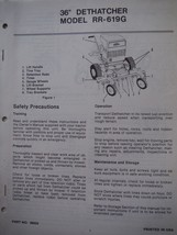 """gravely tractor Brinly-Hardy 36"""" Dethatcher RR-619G owner's parts manual 7-pages - $7.38"""