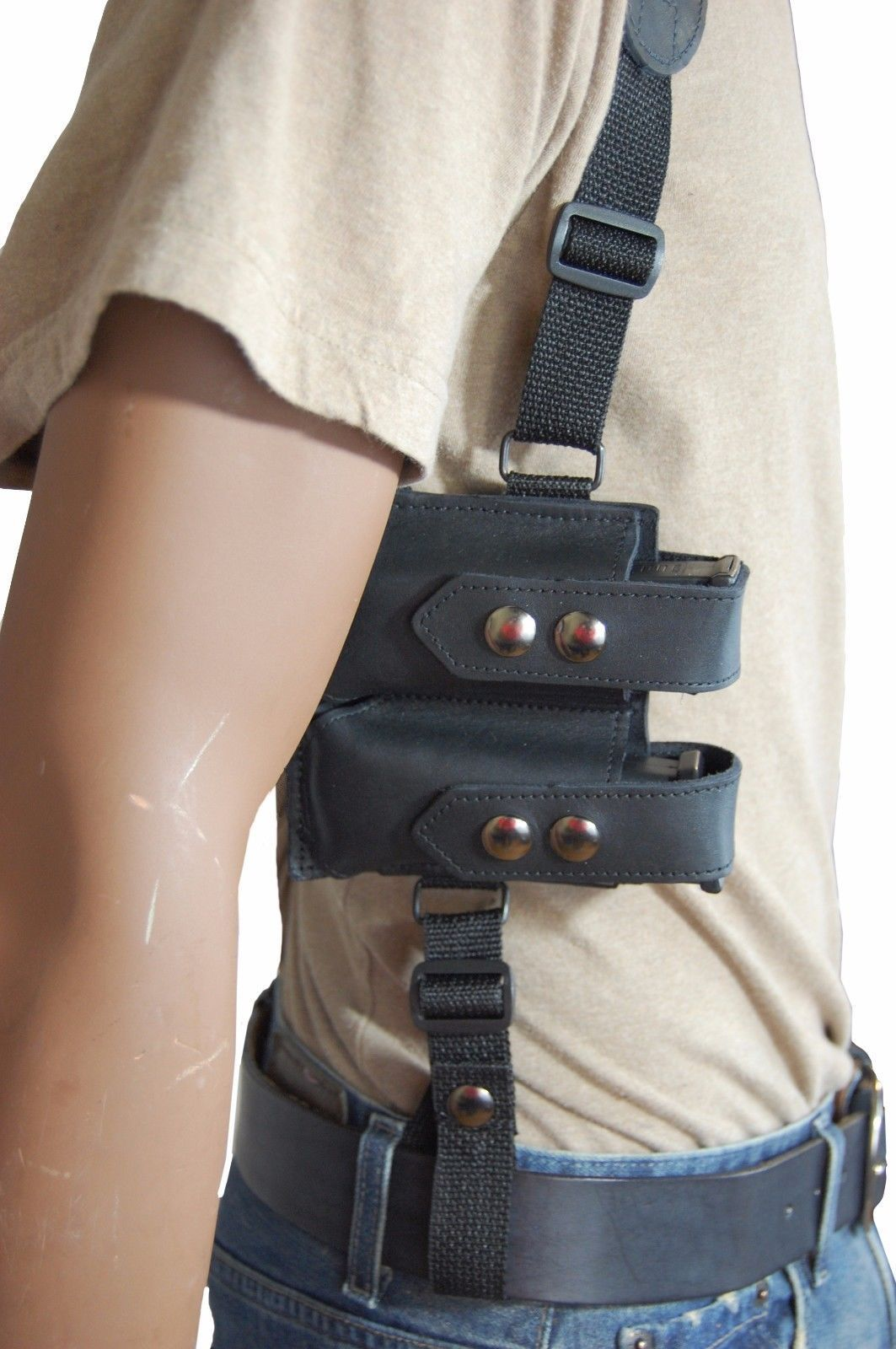 New Barsony Black Leather Shoulder Holster Mag Pouch Colt Springfield UltraComp