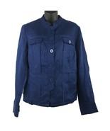COLDWATER CREEK Navy Blue 100% Linen Button Down Jacket Size 12 - $24.74