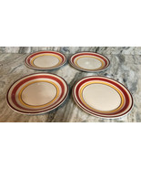 "Royal Norfolk 10 1/2"" Dinner Plates Set Of 4 Red/Yellow Circle Print-NEW... - $49.38"