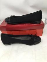 Aerosoles Bectify Womens Black Canvas With Leather Cap Toe Ballet Flats 7.5 EUC - $16.46
