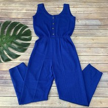 St John Vintage Womens Jumpsuit Size M Bright Blue Santana Knit Sleeveless - $69.29