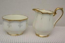 RARE ANTIQUE Royal Albert Crown China CREAMER & SUGAR BOWL 1930's White ... - $38.79