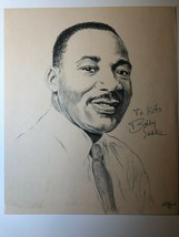 Drawing print of Martin Luther King autographed by Bobby Seale 1987 - $90.25