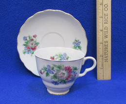 Enesco Tea Cup & Saucer Plate White w/ Pink Blue & Gray Mum Flowers Floral - $13.85