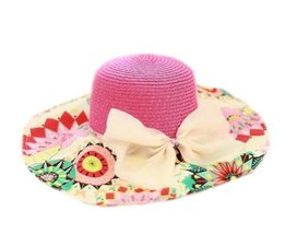 PANDA SUPERSTORE Print Bow Knot Flopy Straw Hat Beach Hat for Women