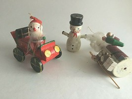 Vintage Wooden Christmas Ornaments Wood Painted Lot of 3 Santa Snowman S... - $13.61