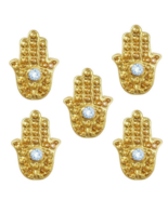 100pcs Hand Charms with Blue Rhinestone Evil Eye Hamsa 3D Gold Nail Art ... - $21.69