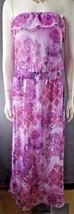 Womens L8ter sz M Full Length Strapless Floral Dress ruffle pink purple ... - $14.95