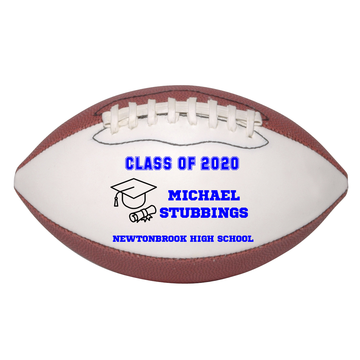 Personalized Custom Class of 2020 Graduation Mini Football Gift Blue Text - $34.95