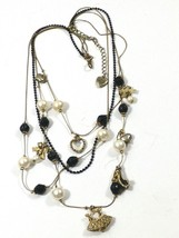 Betsey Johnson Cascade Fashion Charms Necklace Antique Gold Tone retired - $25.74