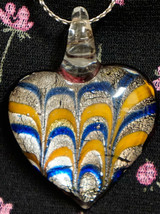 Heart Shaped Art Glass Pendant Necklace Orange Blue Silver. Chain is Sil... - $19.99