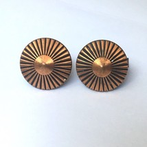 Southwestern Style Copper Tone Cufflinks Round Sunburst - $13.81